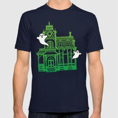 Haunted Victorian House Mens Fitted Tee Navy SMALL
