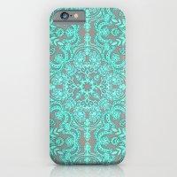 Mint Green & Grey Folk Art Pattern iPhone 6 Slim Case