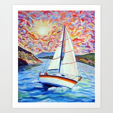 Sailing Okanagan Art Print