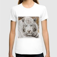 WHITE TIGER GAZE Womens Fitted Tee White SMALL