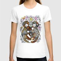 Decorative Cats Twins  Womens Fitted Tee White SMALL