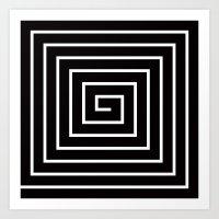 Black & White Spiral Art Print
