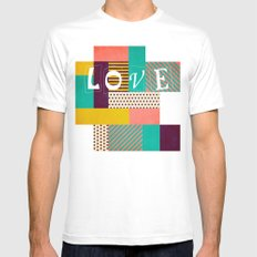 Geometric Love Mens Fitted Tee White SMALL