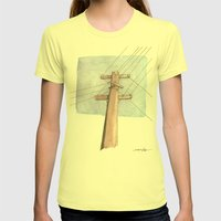 In a Network of Lines that Intersect Womens Fitted Tee Lemon SMALL