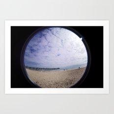 Beach through the eye of a fish Art Print