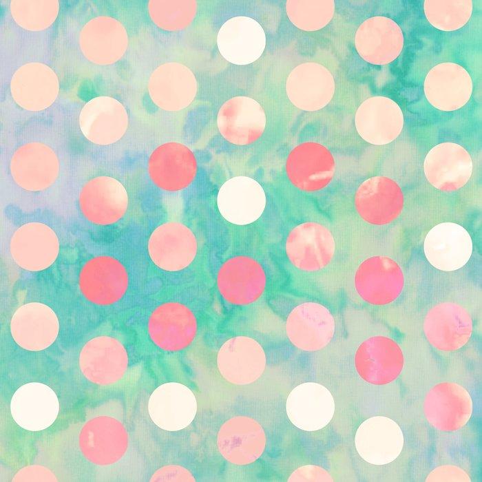 Retro Pink Polka Dots Hipster Turquoise Pattern Art Print