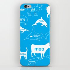 Animal Noises in Blue iPhone & iPod Skin