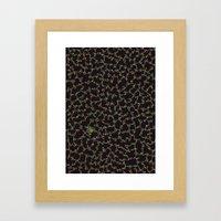 Blue/Green Dots in Black Design Framed Art Print