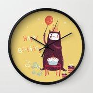 Happy Birthday Purple Mo… Wall Clock