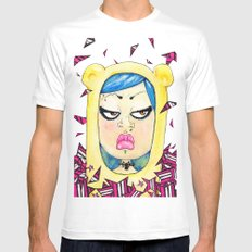 Doky Bear White Mens Fitted Tee SMALL