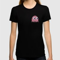 Pac-Man Pink Ghost Womens Fitted Tee Black SMALL