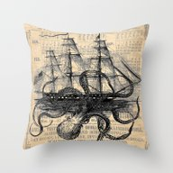 Throw Pillow featuring Octopus Kraken Attacking… by Paper Rescue Designs