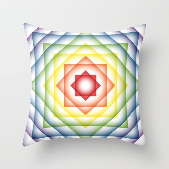 ROY G BIV Overlay Throw Pillow