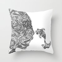 Homme Poisson B&W Throw Pillow