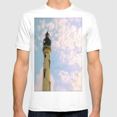 Cloudy at the Lighthouse Mens Fitted Tee White SMALL