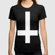 inverted cross Womens Fitted Tee Tri-Black SMALL