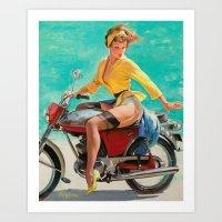 Gil Elvgren - Motorcycle… Art Print