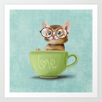 Kitten with glasses Art Print
