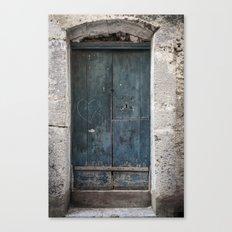 Green Door with Heart Canvas Print