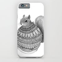 iPhone & iPod Case featuring The Squirrel-Feathered by Jess Polanshek