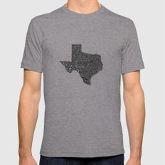 Typographic Texas Mens Fitted Tee Athletic Grey SMALL