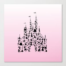 Ombre Pink silhouettes in a castle Canvas Print