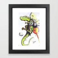 Dinosaur Wearing Jetpack Framed Art Print