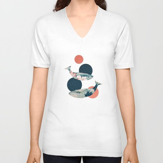 Whales and Polka Dots V-neck T-shirt