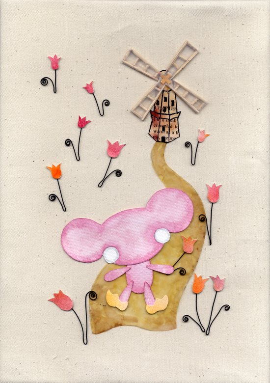 A Mouse With Clogs On, By A Windmill Art Print