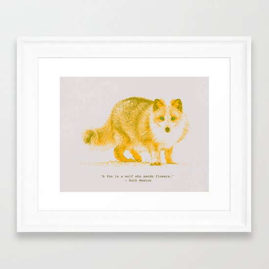 A Fox is a Wolf Who Sends Flowers Framed Art Print