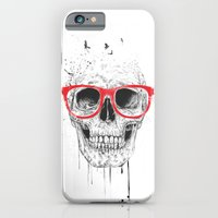 iPhone & iPod Case featuring Skull with red glasses by Balazs Solti