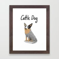 Cattle Dog - Cute Dog Se… Framed Art Print