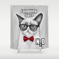 Grumpy Chemistry Cat Shower Curtain