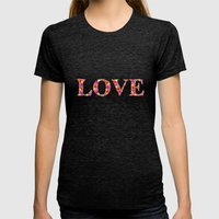 LOVE Womens Fitted Tee Tri-Black SMALL