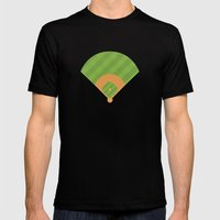 Baseball Field Mens Fitted Tee Black SMALL