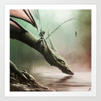 Fishing On The Drinking … Art Print