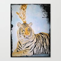 Giraffe Kissing Tiger Canvas Print