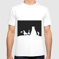Meow Cat Mens Fitted Tee White SMALL