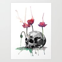 Skull and Poppies Art Print