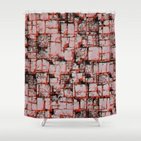 Red blocks Shower Curtain