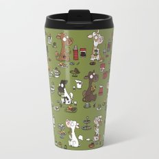 Retro cows - green Travel Mug