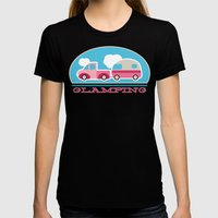 Glamping stripes Womens Fitted Tee Black SMALL