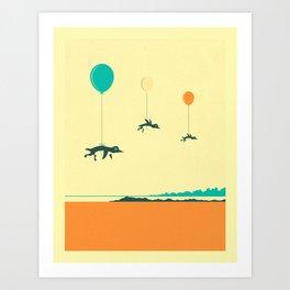 Art Print - FLOCK OF PENGUINS - Jazzberry Blue