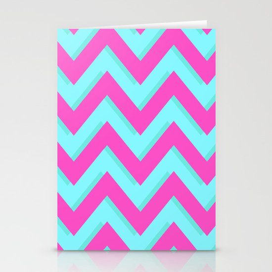 3D CHEVRON TEAL & PINK Stationery Card