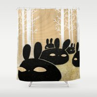Suspicious Bunnies Shower Curtain