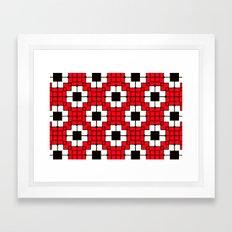 Retro Mosaic Red & Black Framed Art Print