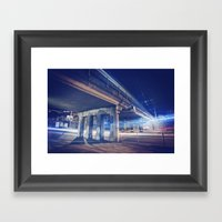 De Nuit, Sous Un Pont Framed Art Print