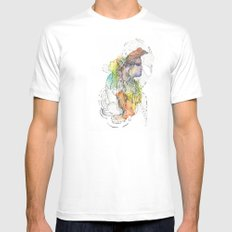 Abstract Portrait Illustration Watercolor Painting  SMALL Mens Fitted Tee White