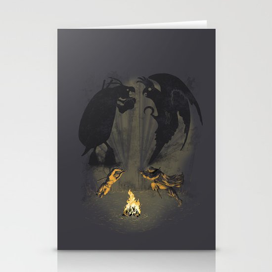 Let's settle it - in the shadows.  Stationery Card