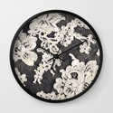 black and white lace- Photograph of vintage lace Wall Clock